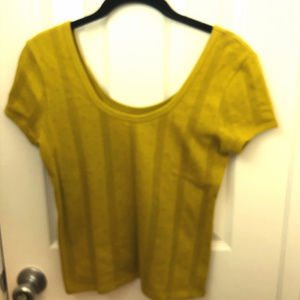Madewell Pointelle Ribbed Tee in Golden Meadow. XS